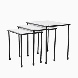 Tavolini a incastro modernisti in metallo di Floris Fiedeldij per Artimeta, anni '60