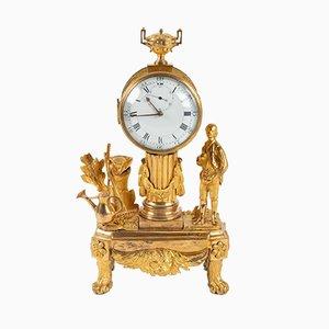 Antike französische Au Jardinier Uhr aus vergoldeter Bronze