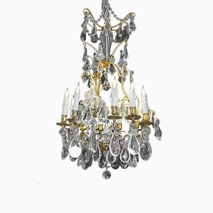 Antique Napoleon III Style French Bronze & Crystal Chandelier