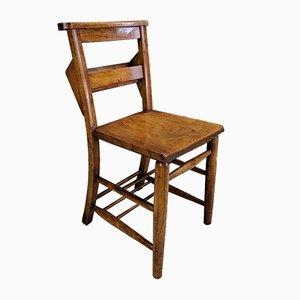 Antique Beech & Elm Chapel Chairs, 1900s, Set of 4