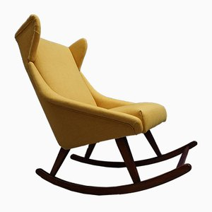 Mid-Century Danish Fabric and Wood Rocking Chair, 1960s