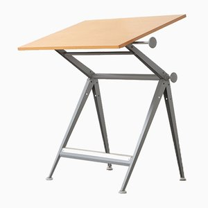 Industrial Metal and Wood Worktable by Friso Kramer for Ahrend De Cirkel, 1960s