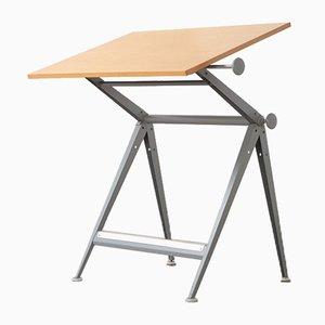 Industrial Metal and Wood Worktable by Friso Kramer for Ahrend De Cirkel, 1960s