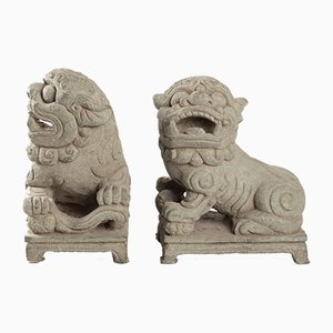 Antique Chinese Stone Dog Garden Sculptures, Set of 2