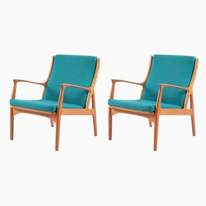 Danish Teak Lounge Chairs by E. Andersen and P. Pedersen for Horsnaes, 1960s, Set of 2