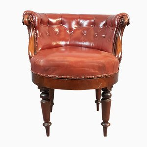 Antique Leather and Mahogany Swivel Chair