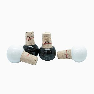 White and Black Marble Bottles with Stoppers from FiammettaV Home Collection, Set of 4