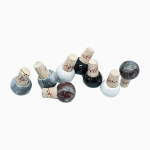 Marble and Cork Bottles Stoppers from FiammettaV Home Collection, Set of 8