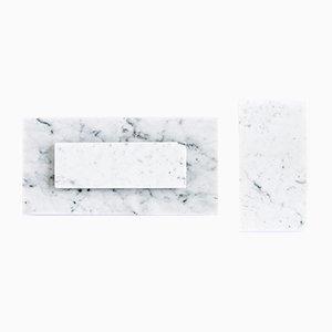 Käseteller aus weißem Carrara Marmor von FiammettaV Home Collection, 3er Set