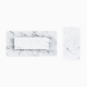 White Carrara Marble Cheese Plates from FiammettaV Home Collection, Set of 3