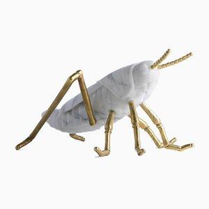 White Arabescato Marble Locusta Migratoria Grasshopper Sculpture by Massimiliano Giornetti for FiammettaV Home Collection