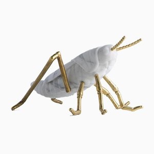 White Arabescato Marble Locusta Migratoria Grasshopper Sculpture by Massimiliano Giornetti for FiammettaV Home Collection
