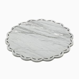 Round Grey Marble Tray with Lace Edge from FiammettaV Home Collection