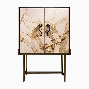 Ermes Capsule Paonazzo Marble, Cherrywood, and Brass Bedside Table from FiammettaV Home Collection