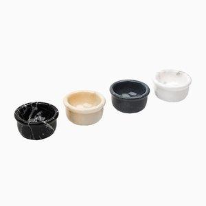 Cuencos pequeños de mármol gris, blanco, negro y rosa de FiammettaV Home Collection. Juego de 4