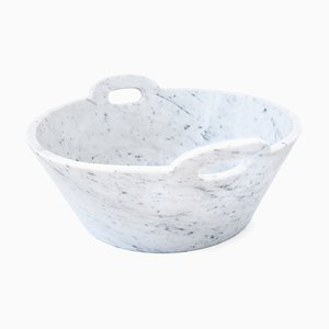 Handcraft White Carrara Marble Bowl from Fiammettav Home Collection