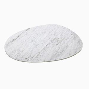 Plato ovalado de mármol de Carrara blanco de Michel Boucquillon para Fiammettav Home Collection