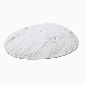 White Carrara Marble Oval Plate by Michel Boucquillon for Fiammettav Home Collection