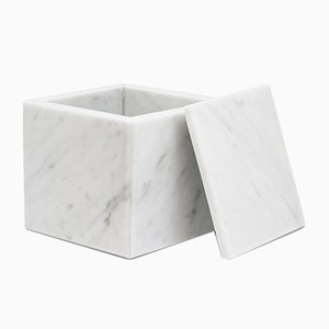 Square White Carrara Marble Box from FiammettaV Home Collection