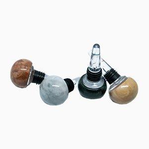 Tapones para botellas de champán de mármol y plexiglás de FiammettaV Home Collection. Juego de 4