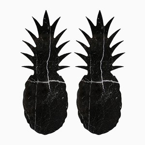 Black Marble Pineapple-Shaped Coasters from FiammettaV Home Collection, Set of 2
