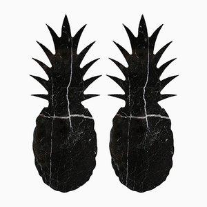 Dessous de Verre en Forme d'Ananas en Marbre Noir de FiammettaV Home Collection, Set de 2