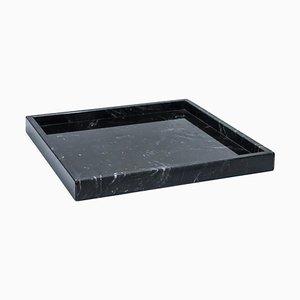 Viereckiges schwarzes Tablett aus Marquina Marmor von FiammettaV Home Collection