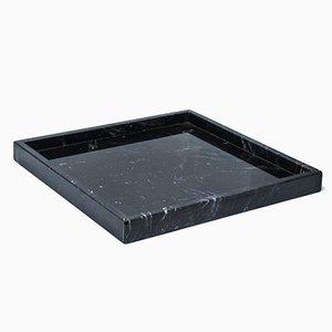 Vassoio quadrato in marmo nero di Marquina di FiammettaV Home Collection