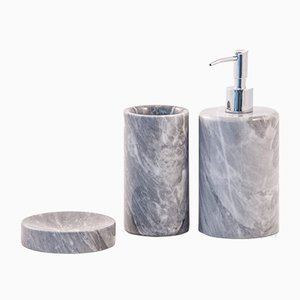 Black Marquina Marble Rounded Toothbrush Holder from FiammettaV Home Collection