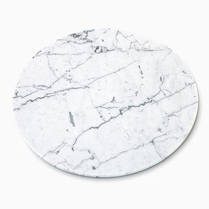 Round White Carrara Marble Cheese Plate from FiammettaV Home Collection