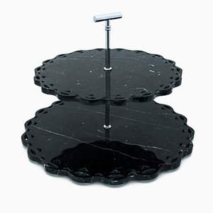 Black Marquina Marble Cake Stand with Lace Edge from FiammettaV Home Collection