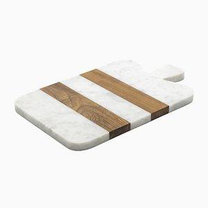 Kleines Schneidebrett aus weißem Marmor & Holz von Fiammettav Home Collection