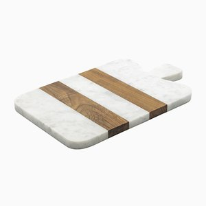 Small White Marble and Wood Cutting Board from Fiammettav Home Collection