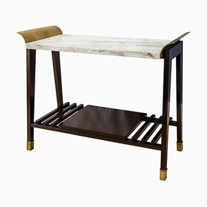 Paonazzo Marble, Cherry Wood & Brass Side Table from Fiammettav Home Collection
