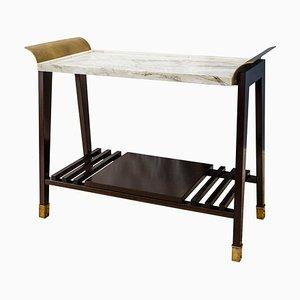 Tavolino Paonazzo in marmo, legno di ciliegio e ottone di Fiammettav Home Collection