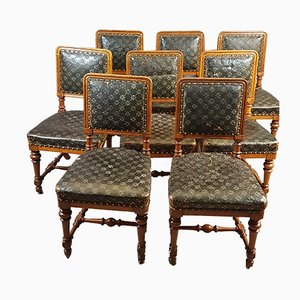Antike Esszimmerstühle aus Leder & Eiche von Holland & Sons, 8er Set
