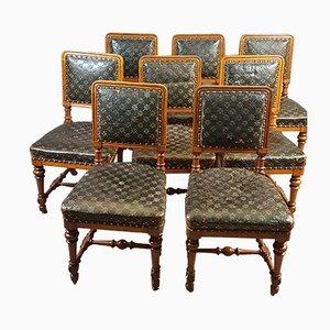 Sedie da pranzo antiche in quercia e pelle di Holland & Sons, set di 8