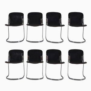 C2 Esszimmerstühle mit schwarzen Ledersitzen von Willy Rizzo für Cidue, 1970er, 8er Set