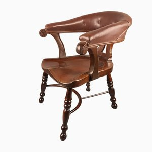 Antique Leather and Mahogany Side Chair