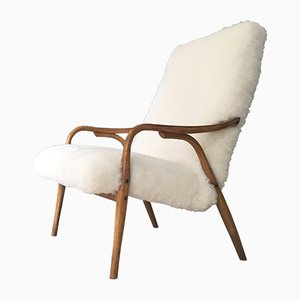 Art Deco Danish Bentwood & Sheepskin Armchair, 1960s
