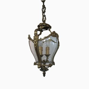 Bronze and Hand-Blown Glass Lantern, 1950s