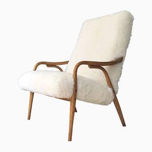 Dänischer Art Déco Armlehnstuhl aus Bugholz und Leder, 1960er