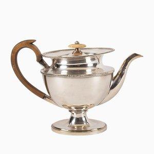 Antike französische Teekanne aus versilbertem Metall mit Holzgriff