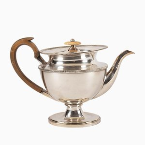 Antique French Silvered Metal Teapot with Wooden Handle