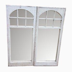 Antike Spiegel mit Rahmen aus Kiefernholz, 2er Set