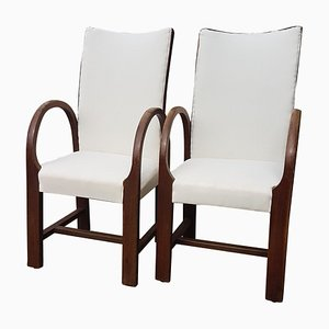 Oak & Bentwood Lounge Chairs, 1920s, Set of 2