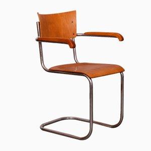 Chaise de Bureau Moderniste en Plaqué Chrome et en Contreplaqué par Mart Stam pour Kovona, 1940s