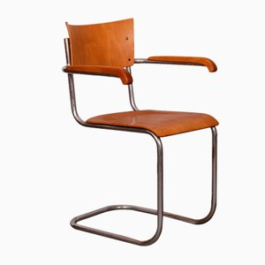 Modernist Chrome Plated and Plywood Desk Chair by Mart Stam for Kovona, 1940s