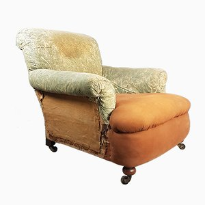 Antique Brass and Fabric Armchair by Cornelius Smith