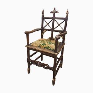 Antique Carved Oak Gothic Ecclesiastical Oak Chair